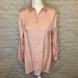 Chico's l Pink shimmer long sleeve button down